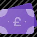 bill, cashh, money, pound, stack icon