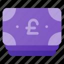 bill, cash, money, pound, stack icon