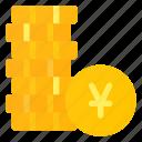 change, coins, money, stack, yen icon