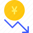 capital, decrease, forex, invest, value, yen icon