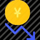 invest, forex, decrease, value, yen, capital icon