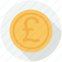 coins, commerce, finances, money, pound, pounds, stack icon