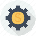 configuration, dollar, finances, interface, money, settings, sign gear, wheel icon
