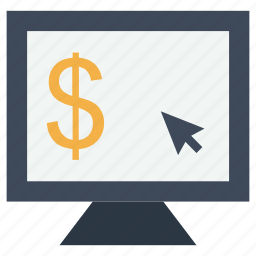 business, coin, cursor, dollar, money, monitor, mouse, payment, symbol icon
