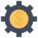 configuration, dollar, finances, interface, money, settings, sign gear, wheel icon