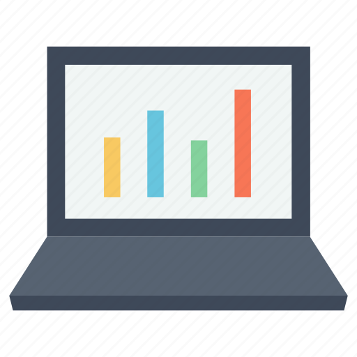 business, finances, financial, laptop, statistics, stats icon