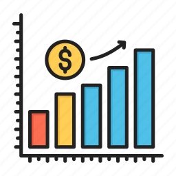 dollar, earning, income, increase, monetize, revenue, statistics icon