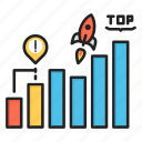 business, chart, growth, report, rocket, startup, top icon