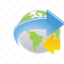 aroun, arrow, earth, globe, map, world icon