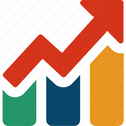 analytic, arrow, bars, business, chart, finance, graph icon
