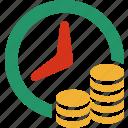 busines, cash, clock, finance, pay, shop, time icon