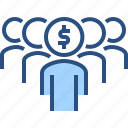 crowd, finance, financial, funding, money icon