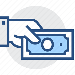dollar, expenses, finance, hand, money, payment icon