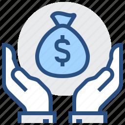 finance, gesture, hand, investment, money, saving icon