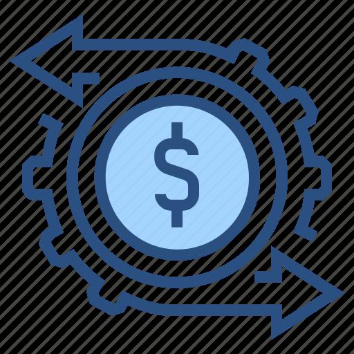 arrow, dollar, finance, financial, gear, management, money icon