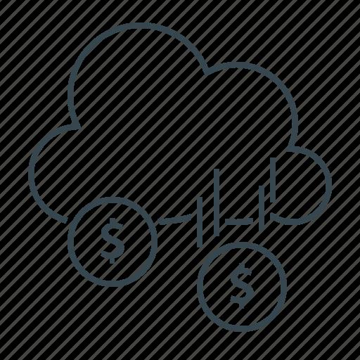 cloud, earning, earnings, funding, profit icon