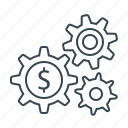 cogwheels, gears, making, making money, money icon