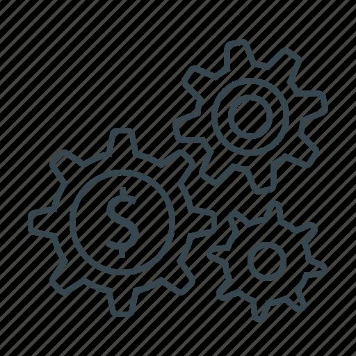 cogwheels, gears, making, making money, money icon