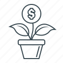 finance, flower, growth, investments, money, money growth icon