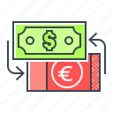 currency, currency exchange, dollar, euro, exchange icon