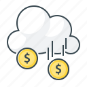 cloud, funding, heavenly manna, income, money, money rain, profit icon