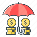 finance, funds, funds protection, protection, secure, umbrella icon