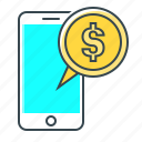 coin, m-banking, mobile, mobile banking, phone, smartphone icon