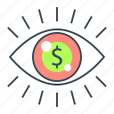 dollar, eye, market vision, visible, vision icon