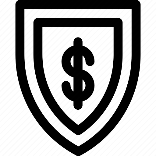 business, dollar, finance, money, outline, shield icon