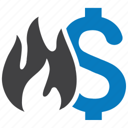 damage, financial loss, money, money burning, waste icon