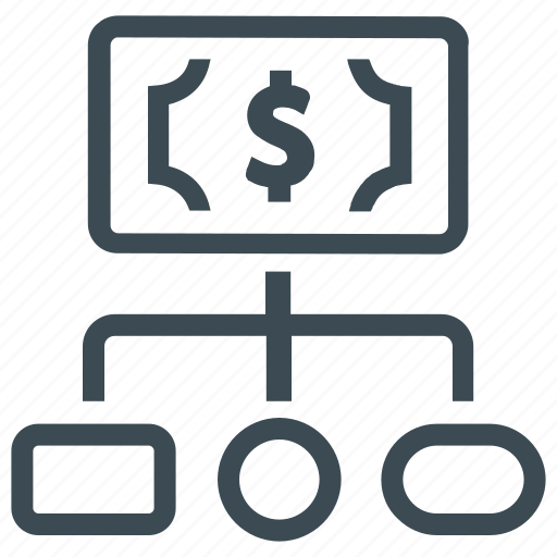 financial structure, hierarchy, money icon