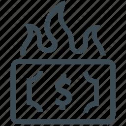 damage, financial, financial loss, loss, money, waste icon