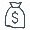 cash, currency, finance, financial, money bag icon