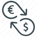 cash, conversion, currency, dollar, euro, exchange, money icon