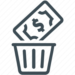 bin, capital, money, money waste, waste, wealth icon