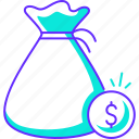 bag, coin, dollar, money, savings icon