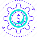 finance, gear, investment, management, money, setting icon
