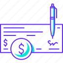 check, finance, money, paying, payment, pen icon