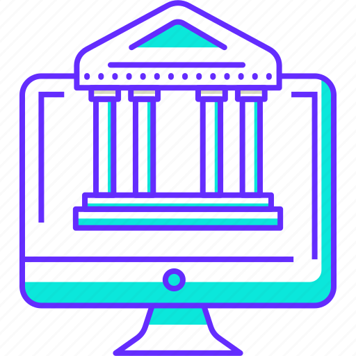 bank, banking, computer, financial, online icon