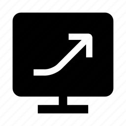 arrow, graph, growth, monitor icon