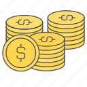 business, coin, finance, of, pile icon