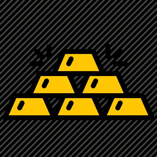 bank, finance, gold, money, pile icon