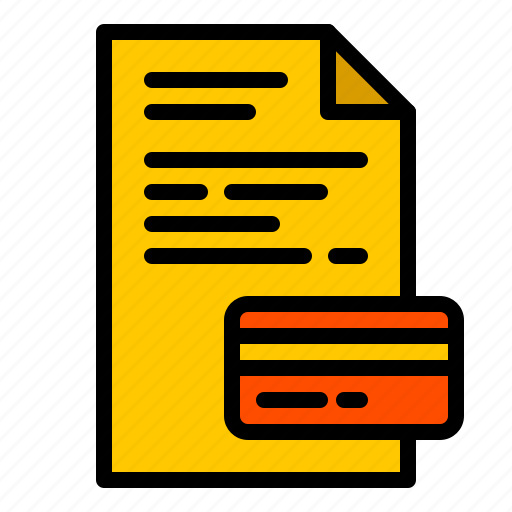 bank, bill, card, credit, document, finance, paper icon