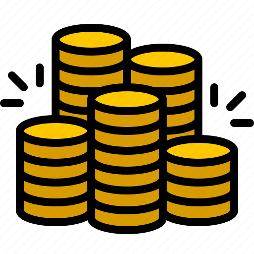 bank, coin, currency, finance, gold, money, pile icon