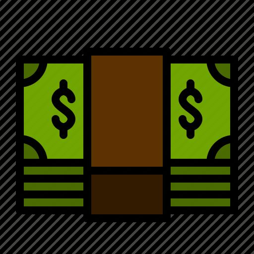 bank, bill, dollar, finance, money, pile icon