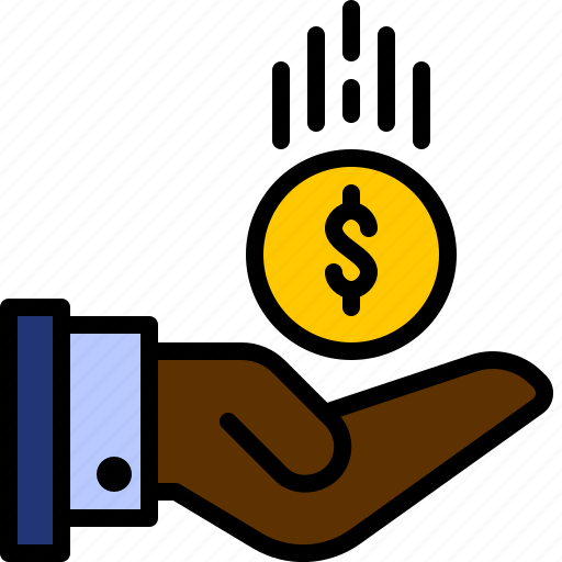 bank, cash, coin, finance, hand, investment, money icon
