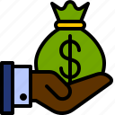 bag, cash, dollar, finance, hand, investment, money icon