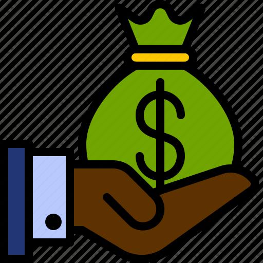 bag, cash, dollar, finance, hand, investment, money icon