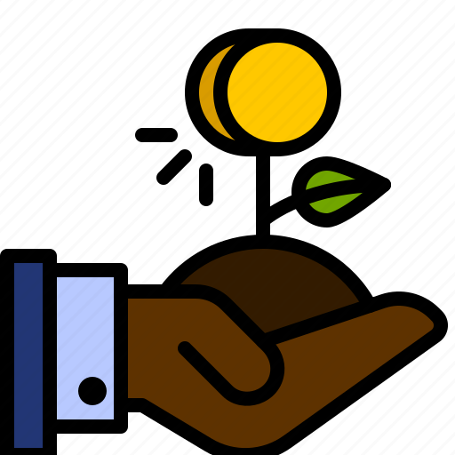 coin, finance, hand, investment, money, plant, tree icon