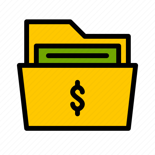 bank, bill, cash, document, finance, folder, money icon